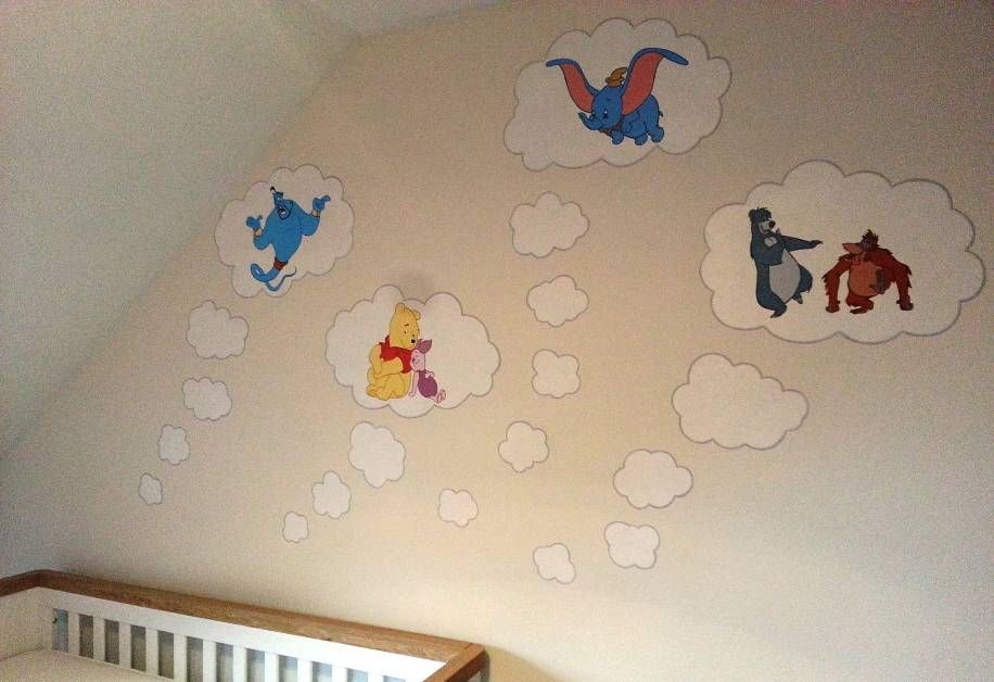 Dream Bubbles Painted Above A Cot In A Nursery Featuring Well Loved
