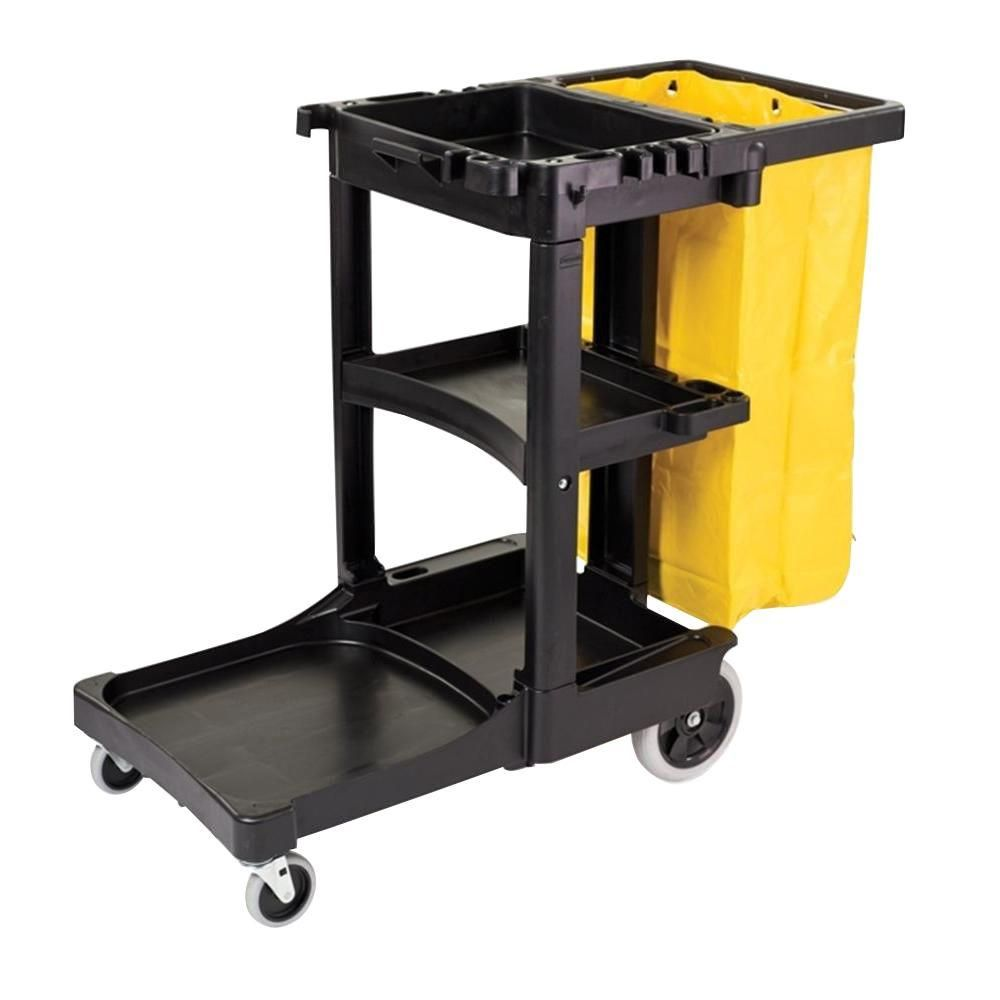 Janitor Cart with 3 Shelves and Vinyl Bag Lavex Gray Janitorial Cleaning Cart