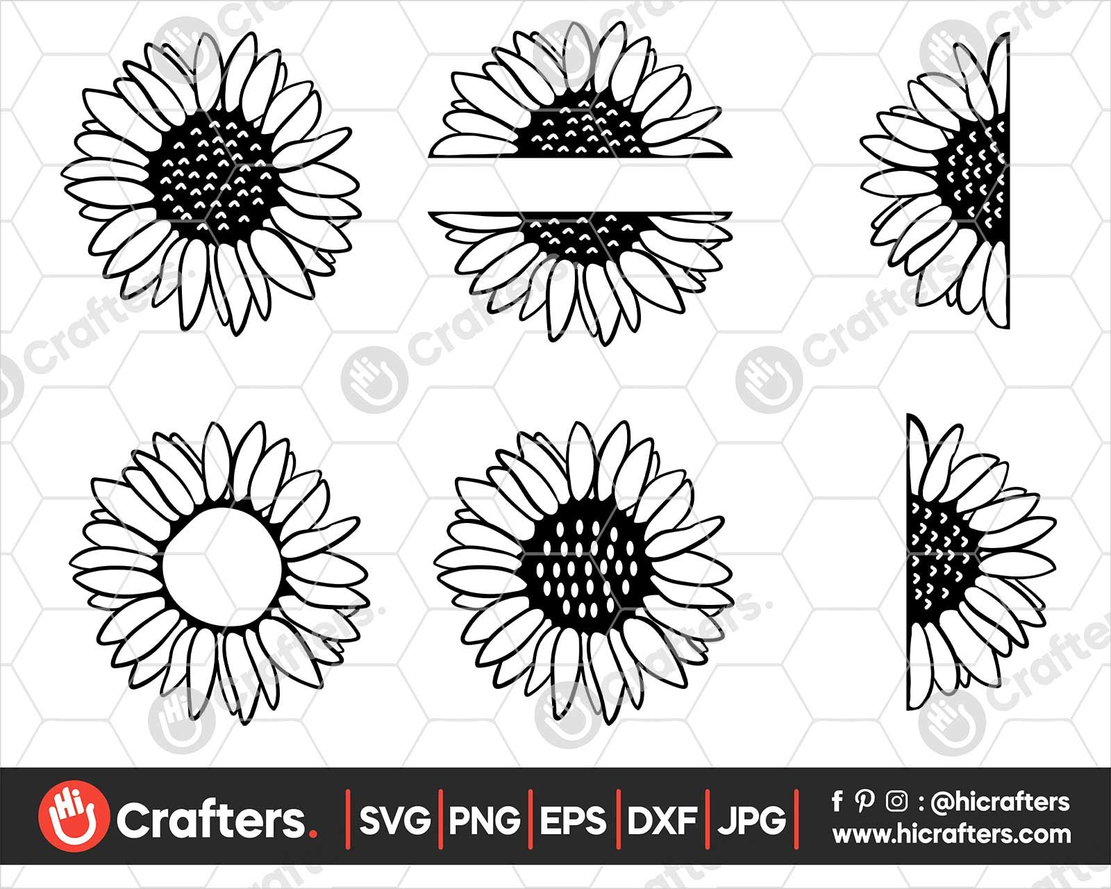 Sunflower SVG Bundle Half Sunflower SVG File in 2020