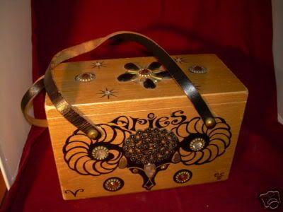 28ae5a7f7214 Enid Collins zodiac Aries wood box bag purse in black print.   Enid ...