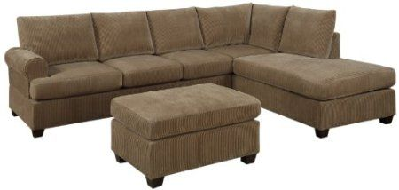 Amazon Com Bobkona Crestline 3 Piece Reversible Sectional With