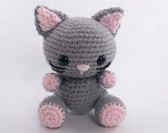 Amigurumi Kitten Patterns : Grey cat pdf crochet toy pattern amigurumi kitten pattern