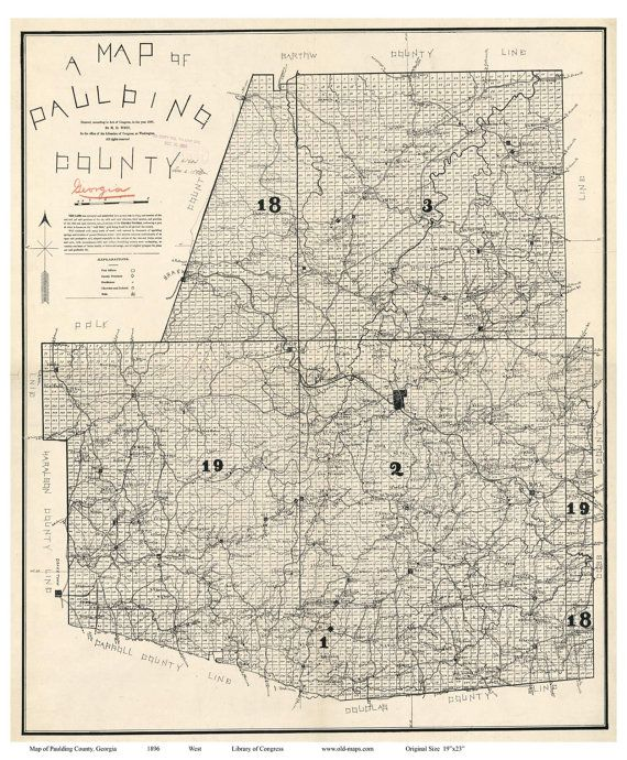 Paulding County Old 1896 Map Georgia Wall Map With   Georgia ... on georgia county map printable, georgia county by county, georgia highway maps by county, georgia map territory, georgia state bird, georgia state animal, georgia state hood, georgia county map of gold, georgia counties by square miles, georgia county map of ga, georgia cities, georgia coastline,
