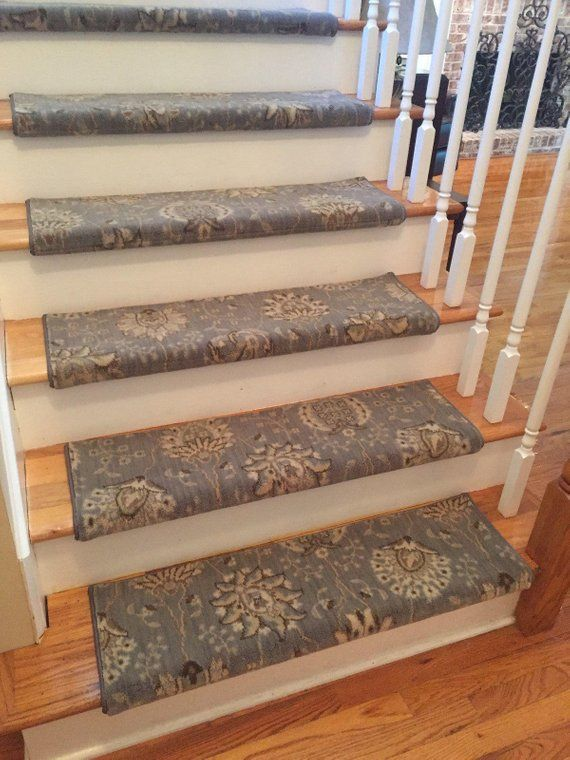 Best Authentic Wool Blue Mist True Bullnose™ Carpet Stair Tread 400 x 300