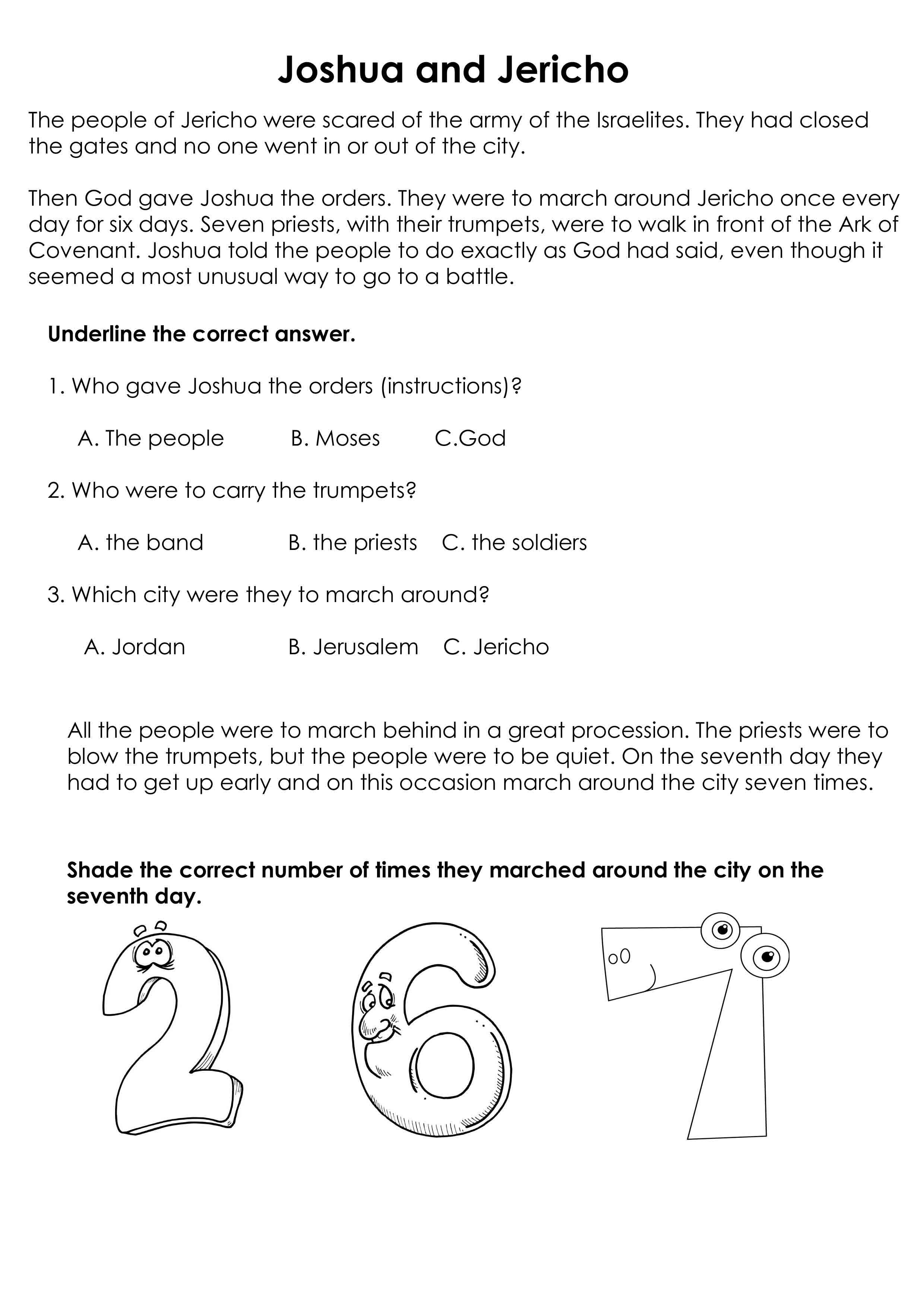 Worksheet JOshua And Jericho