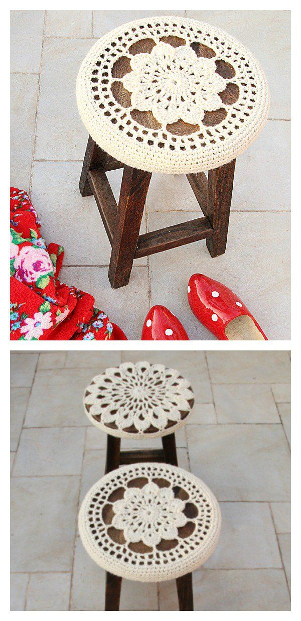 Crochet Stool Cover Free Patterns | Medallones, Florales y Ganchillo