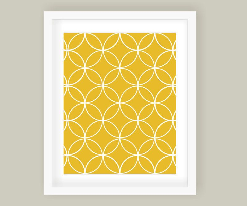 Overlapping circles modern wall art print sunflower yellow decor nursery kids also rh pinterest