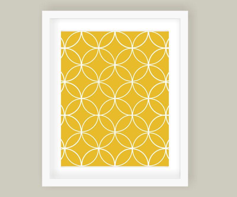 Overlapping Circles Modern Wall Art Print Sunflower Yellow, Wall ...