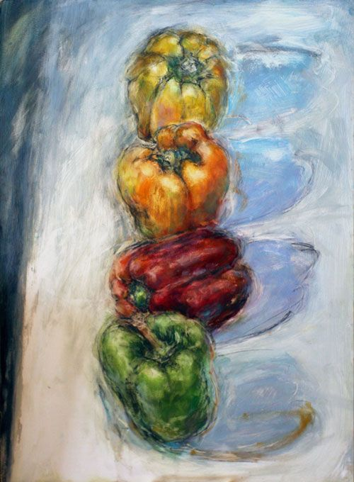 JOANNE FOGLE 4 Peppers $300.00 original, oil and conte crayon on wood panel 16″ x 22″, unframed