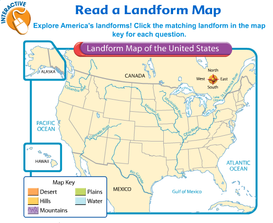 Interactive map - Landforms | On the Job - ELL Teaching Ideas ... on view satellite map north america, labeled map of north america, natural map of north america, desert map of north america, physical map of north america, major landform regions north america, land cover map of north america, simple map of north america, humidity map of north america, physical landforms of north america, map key of north america, clear map of america, earth map of north america, linguistic map of north america, main landforms of north america, printable map of north america, province map of north america, bedrock map of north america, physical regions of north america, landforms in the united states of america,