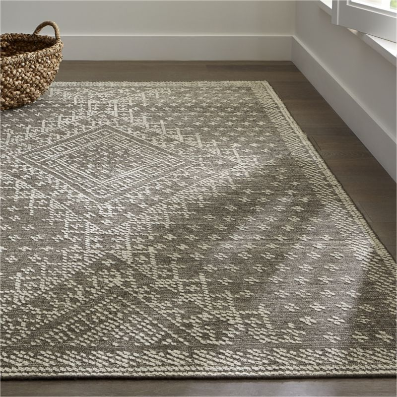 Crate And Barrel Desi Rug: Vintage Pressed Metal Work Embroidery Common In 1920s