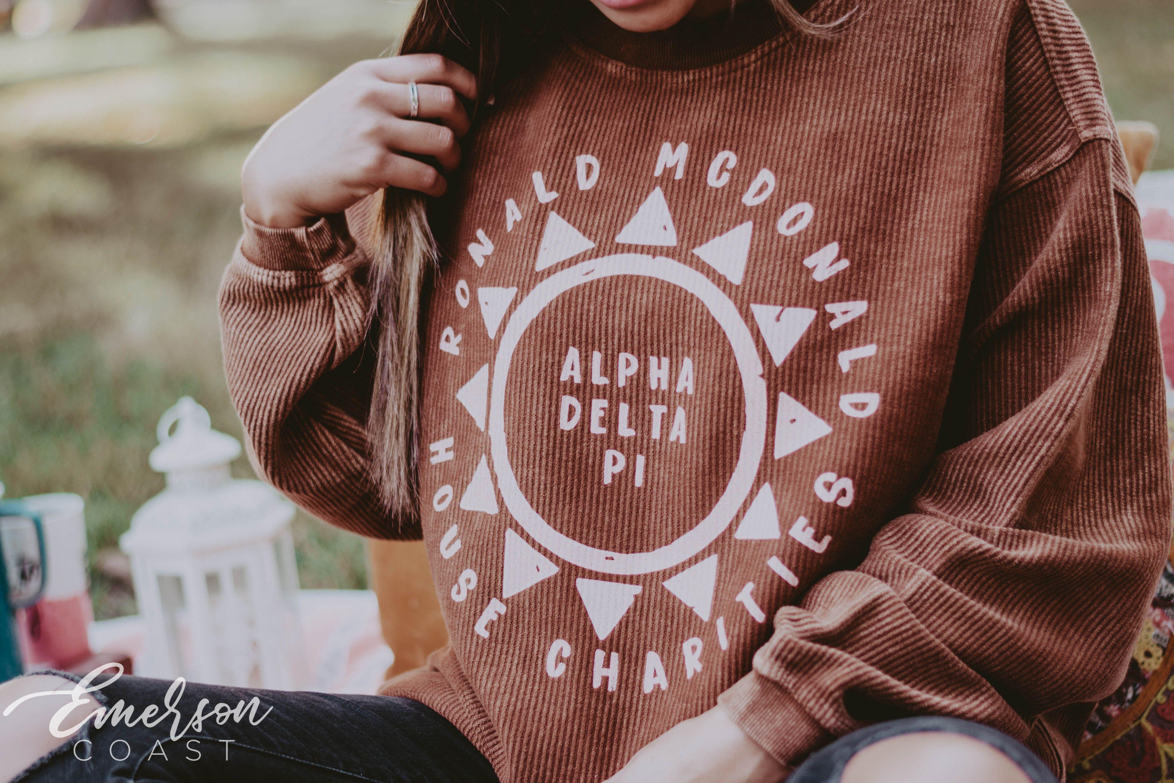 Alpha Delta Pi Corduroy Crewneck Sweatshirt Alpha Delta Pi Alpha Delta Sorority Shirts [ 2624 x 3936 Pixel ]