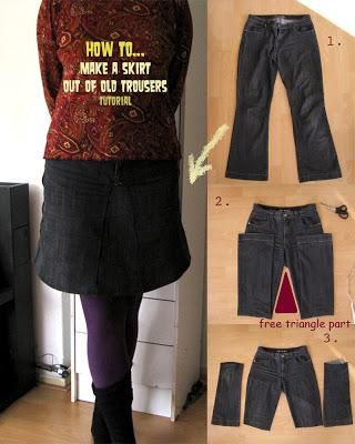 DIY Tutorial DIY Skirt From Jeans / DIY skirt out of old ...