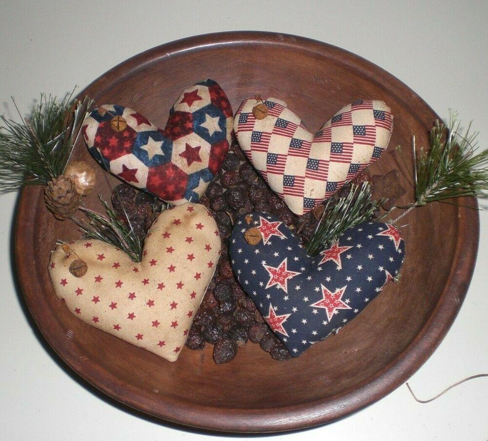 Primitive Flag /& 2 Red Hearts Mini Pillows Rustic Americana Ornies Bowl Filler