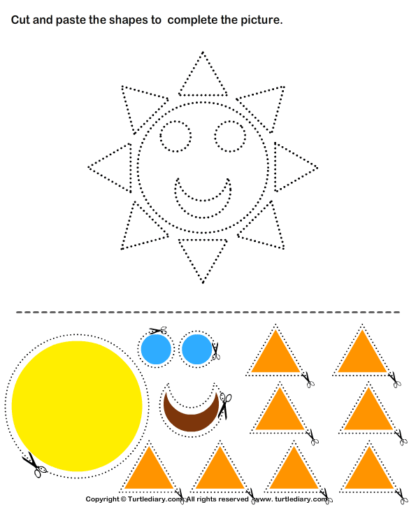 Cut and Paste Sun – Cut and Paste Worksheets for Preschoolers