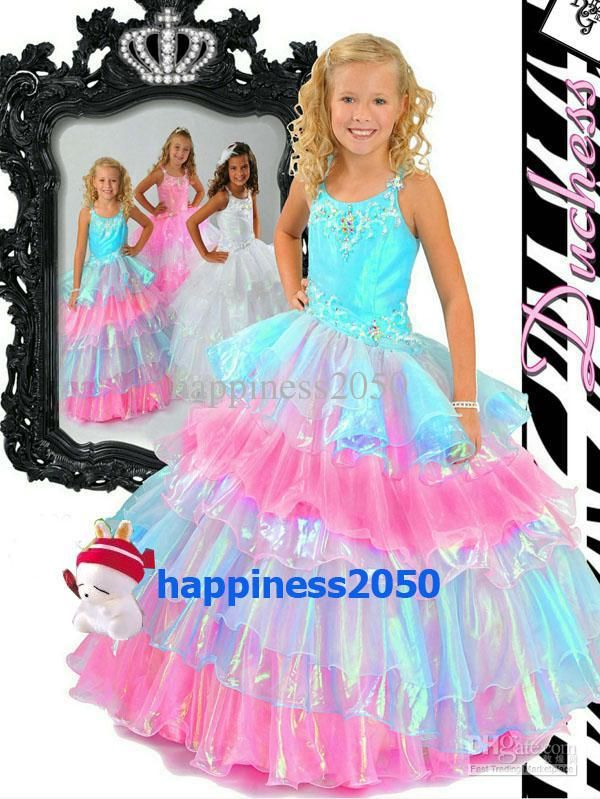 Lovely Pink Layers Straps Beads Flower Girl Dress Holidays Skirt ...
