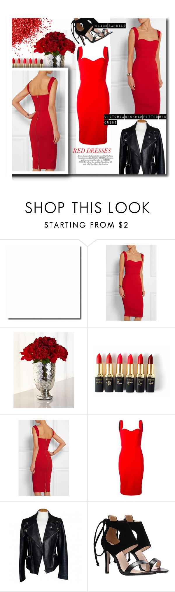 """#reddress"" by zoey-heart ❤ liked on Polyvore featuring Victoria Beckham, John-Richard, L'Oréal Paris, Alexander McQueen, women's clothing, women, female, woman, misses and juniors"