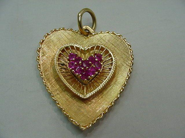 Huge Vintage Heart Charm w/ Rubies