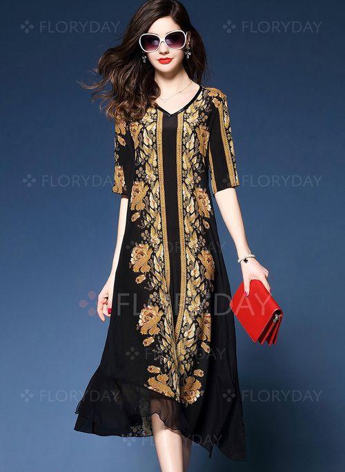 0bac3aab57a Dress -  52.54 - Floral V-Neckline Half Sleeve Midi Shift Dress (1955138964)