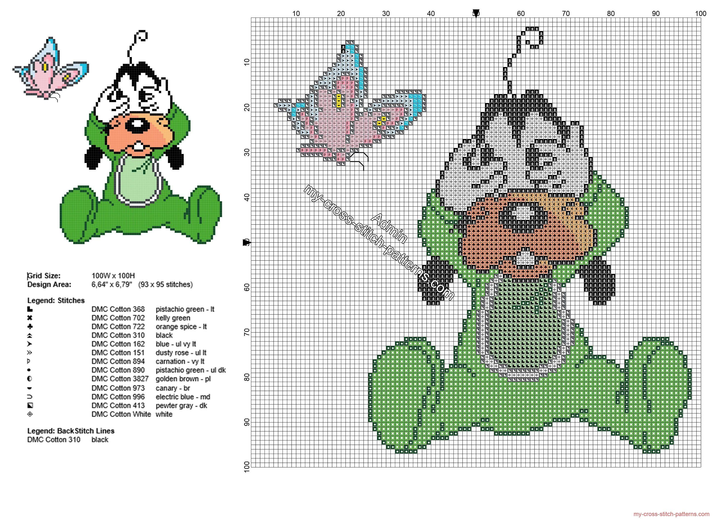 Disney baby Goofy Tribilín las escondidas patron punto de cruz ...