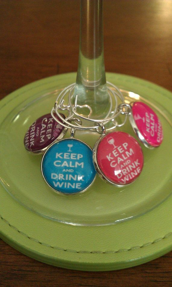 Keep Calm And Drink Wine charms on Etsy