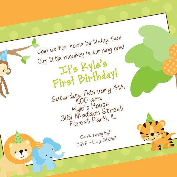 Jungle 1st birthday invitation jungle animals printable invitation jungle baby shower or first birthday invite id change to little lion stopboris Gallery