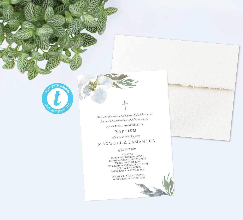 Downloadable Twins Baptism Invitation Greenery Invitation Gender Neutral Diy Editable Template I Christian Wedding Invitations Invitations Floral Invitation