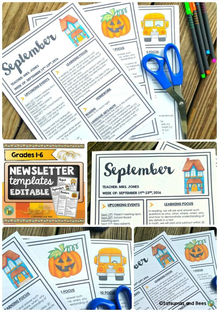 Editable Newsletter Templates  Newsletter Templates Classroom