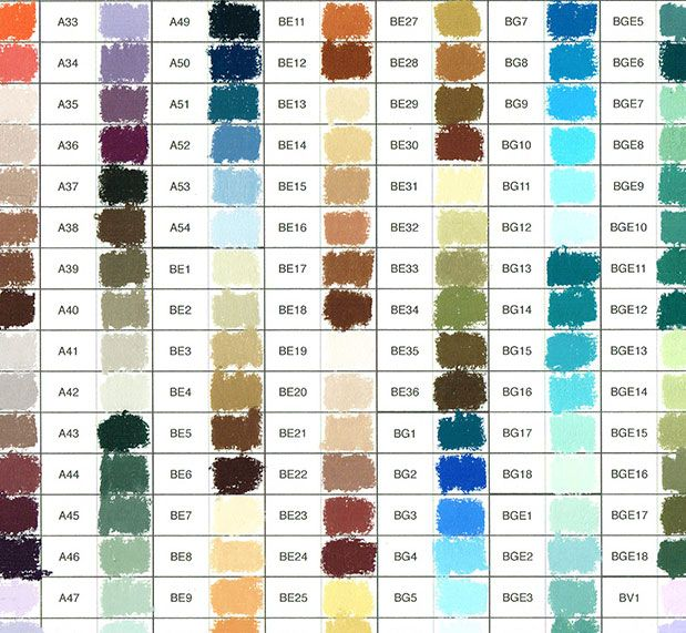 Unison Pastels Hand Painted Colour Chart