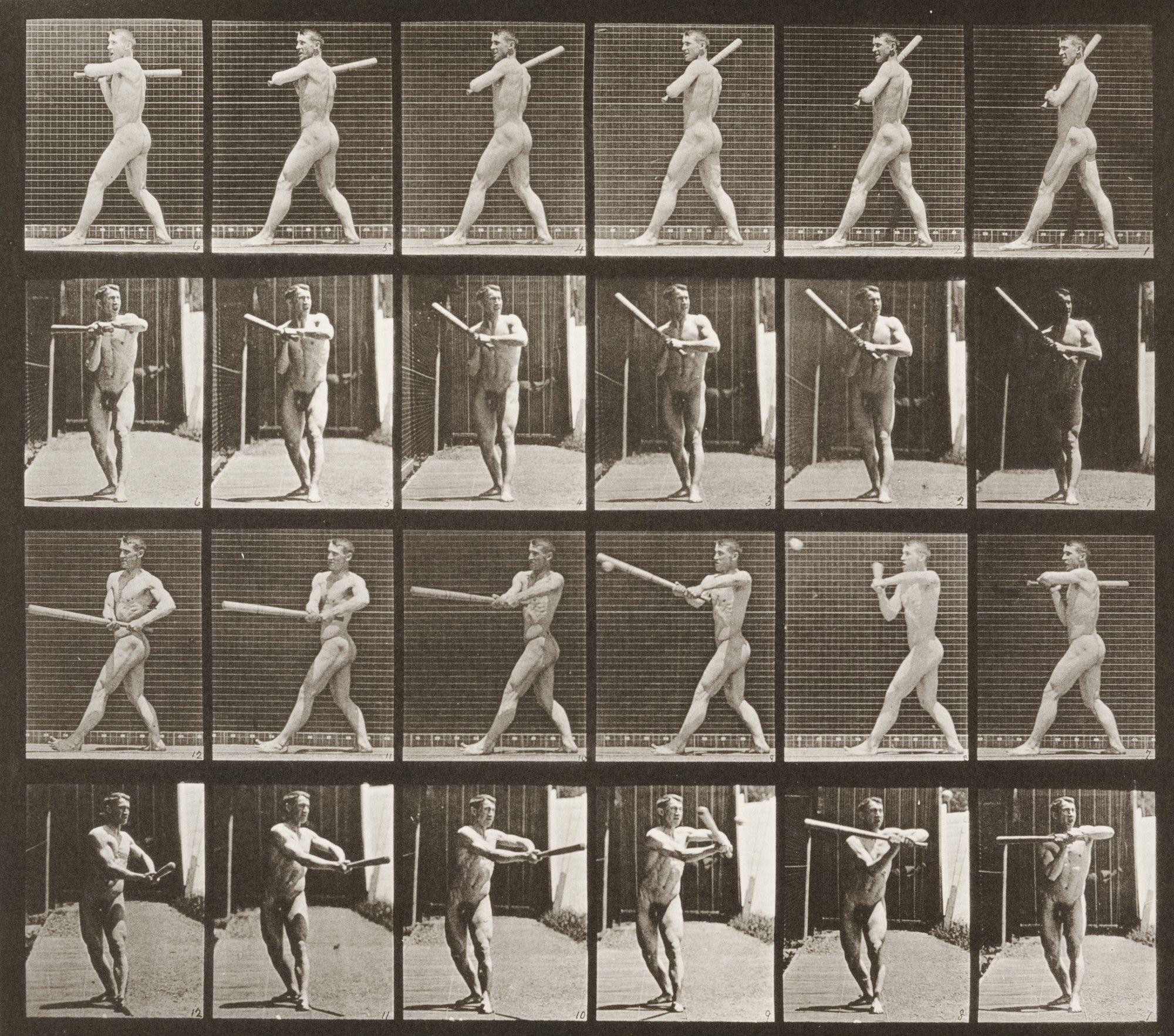 Nude Man Playing Baseball, Batting Animal Locomotion -3495