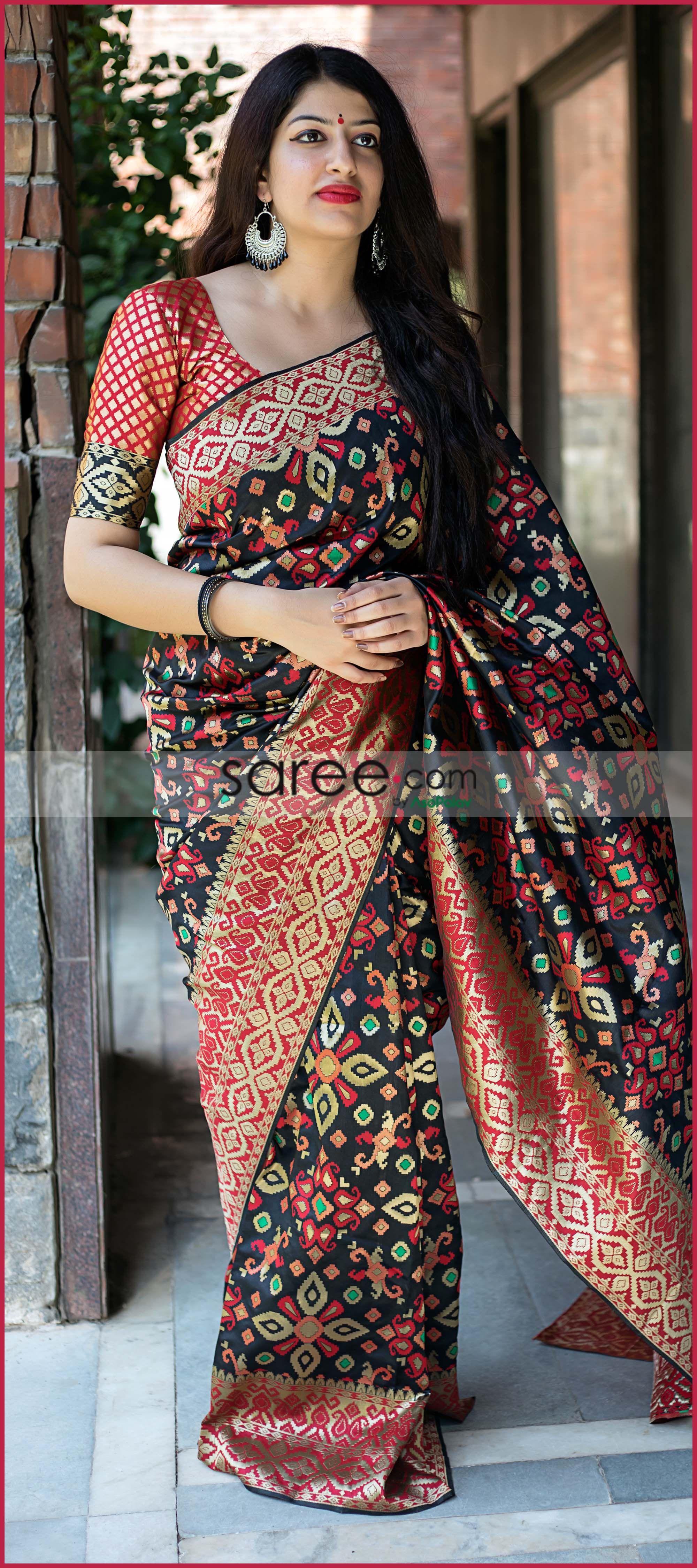 283dd7e258 Black Banarasi Silk Patola Print Woven Saree | Woman | Art silk ...