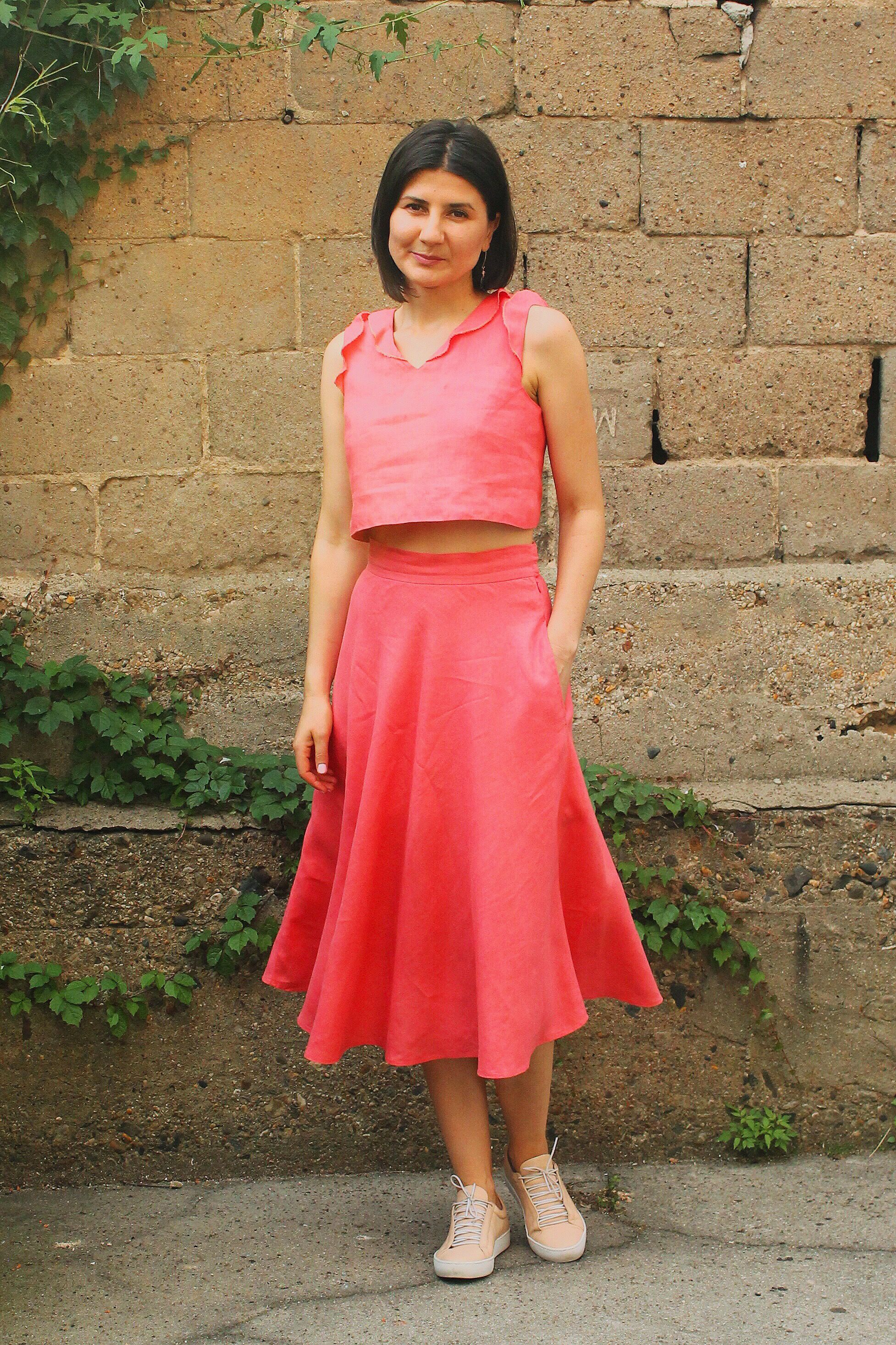 Cropped Top & Midi Skirt Set