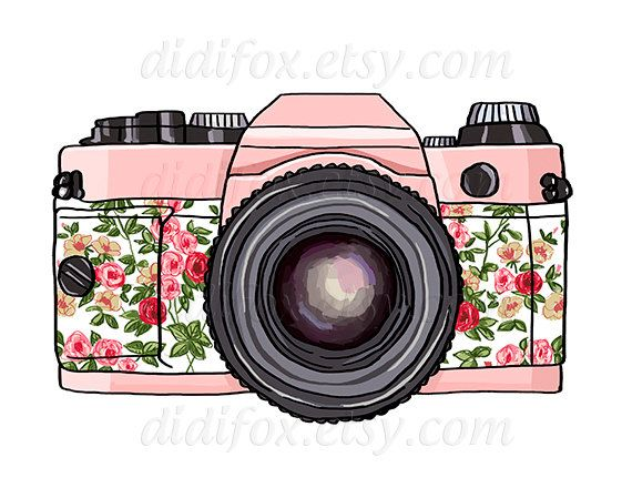 Retro Pink Photo Camera Vintage Floral Print Digital Print