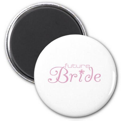 Pink Flower Future Bride Fridge Magnets