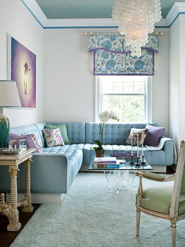 Blue Color Palette Lavender Purple Blue Chandelier Coffee Table Gorgeous Living Room