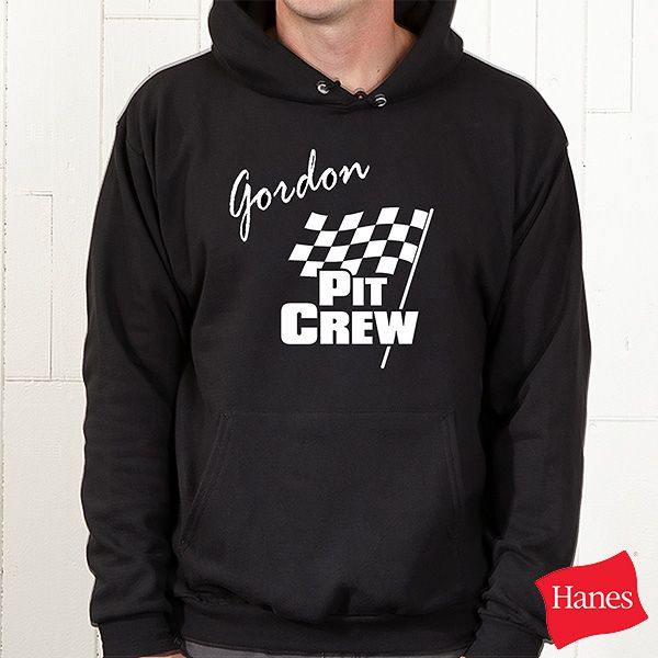 Pit Crew Personalized Car Racing Black Hooded Sweatshirt