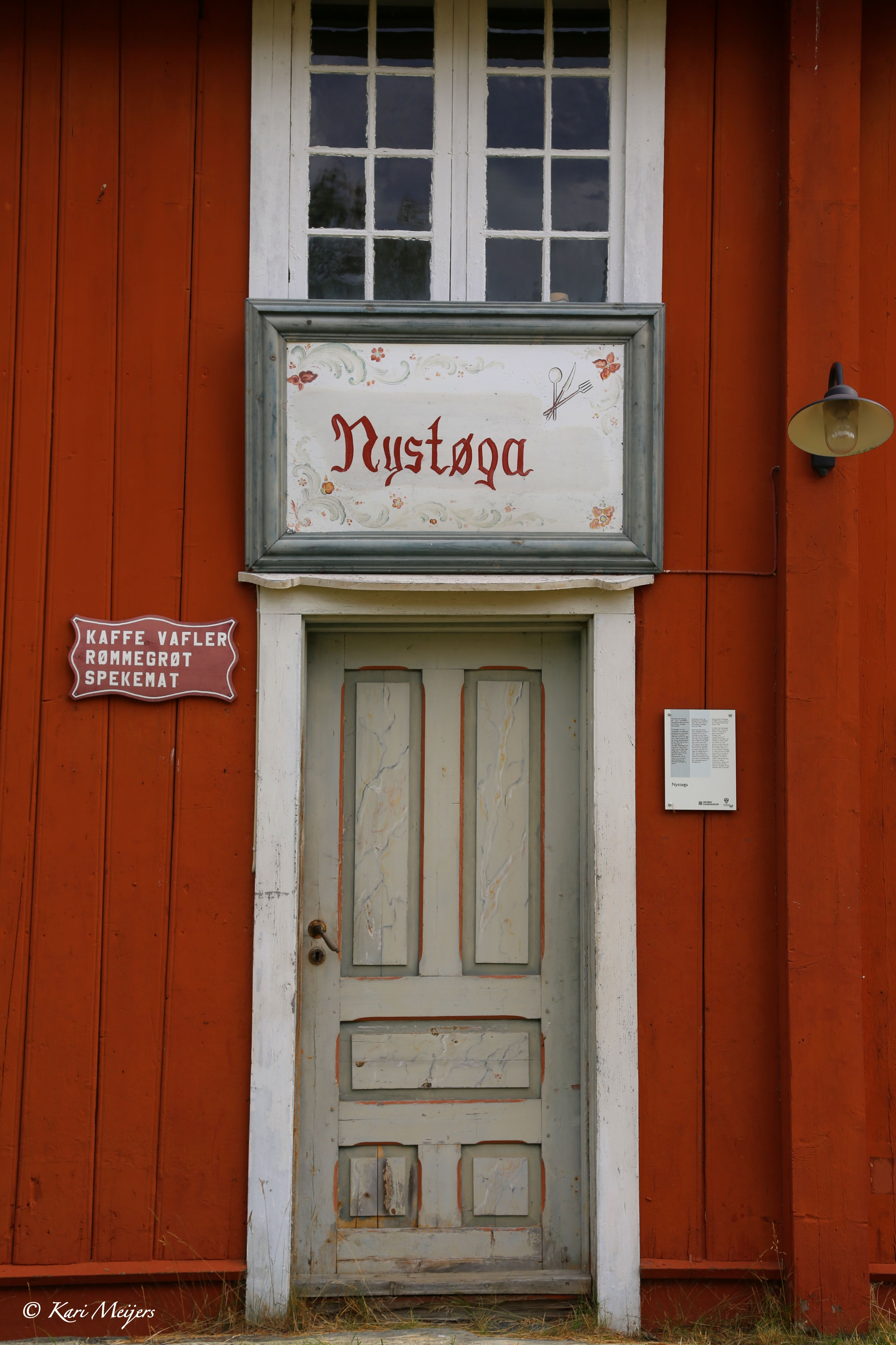 """Fagernes, Norway. Nystøga is where you can be served waffles, rømmegrøt (porridge made from sour cream) and cured ham with the typical Norwegian """"flat bread"""", in the summer season."""