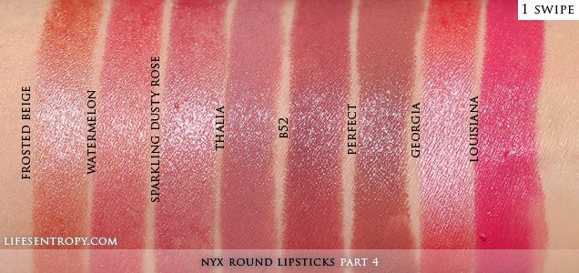NYX Round Lipsticks Part 4: Swatches | Life's Entropy | Beauty Reviews, Swatches, and Lifestyle Blog