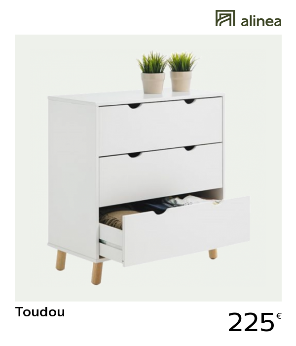 alinea : toudou commode blanche 3 tiroirs meubles chambre commodes ...