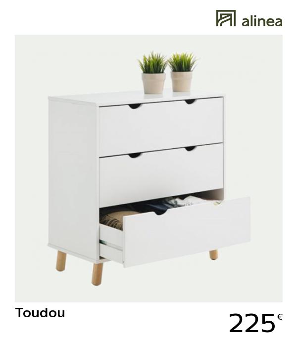 alinea : toudou commode blanche 3 tiroirs meubles chambre ...