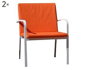 Set di 2 cuscini seduta + schienale in tessuto arancione ...