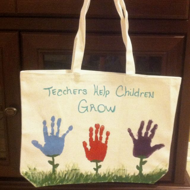 Teacher's hand painted tote gift