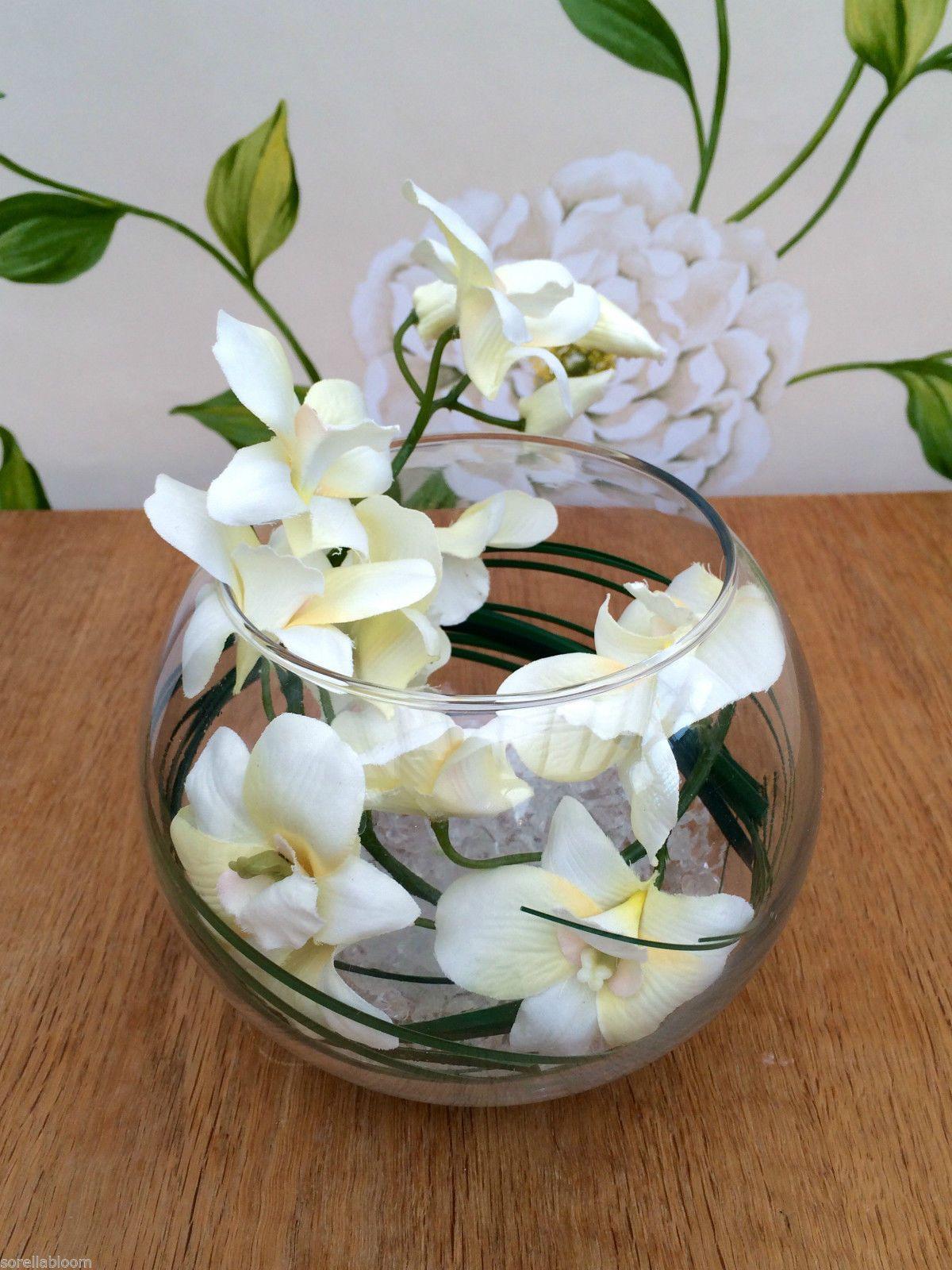 Stunning Cream Orchid Grass Artificial Flower Arrangement Glass