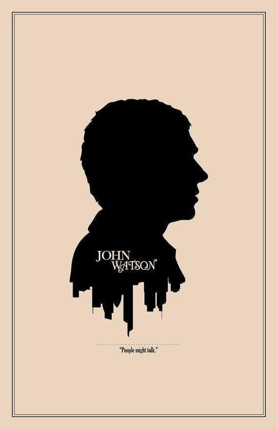 Sherlock Character Cameo: John Watson Print // Minimalist London Skyline and Literary Character Profile Illustration