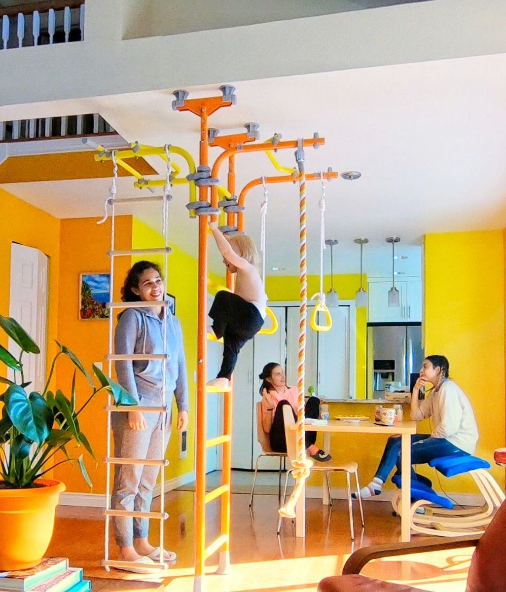 Play Gyms For Kids For Home Use Tension Mounted Floor To Ceiling Or Wall Mounted Frames With A Variety Of Add Ons Fr Kids Gym Kids Indoor Playground Play Gyms