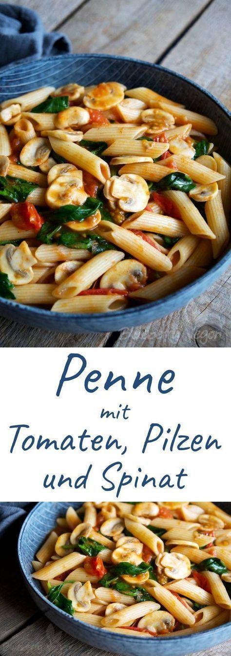Schnelle Pasta mit Tomaten, Pilzen und Spinat #vegetarischerezepteschnell