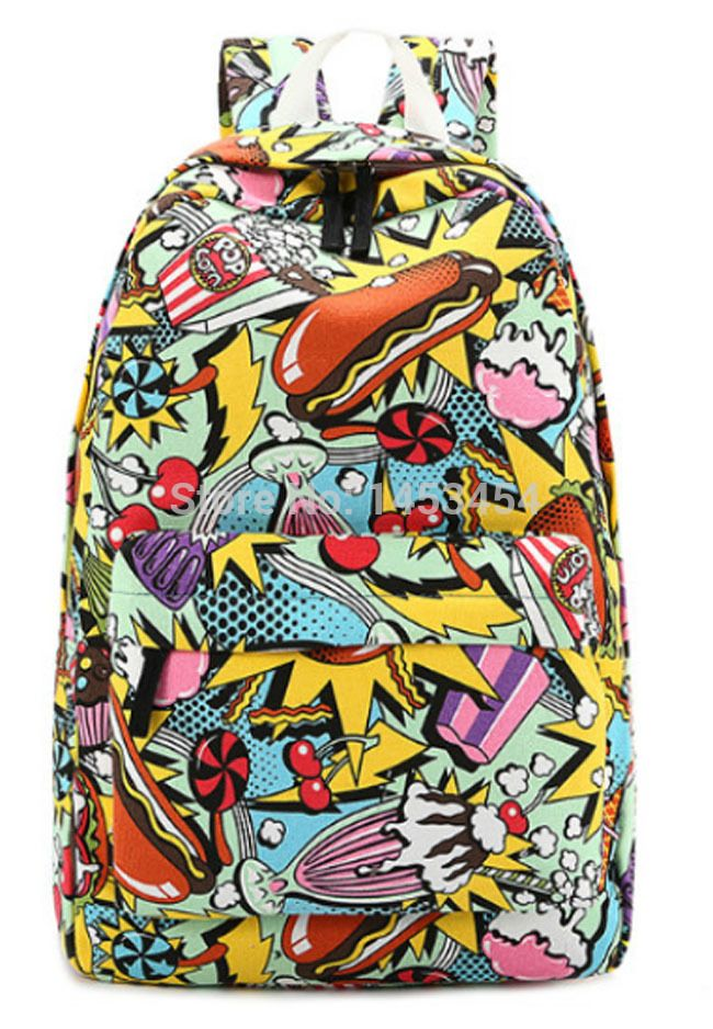 COMIC BACKPACK GRAFFITI CASUAL STREET FASHION DAILY BAG TRAVEL OUTDOOR SCHOOL