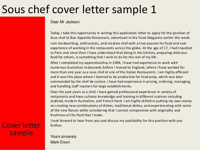 sous chef cover letter sample pastry covers Home Design Idea - sous chef cover letter