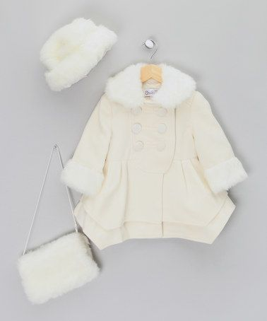 684de1e80ad Take a look at this White Coat with Faux-Fur Hat   Muff - Infant ...