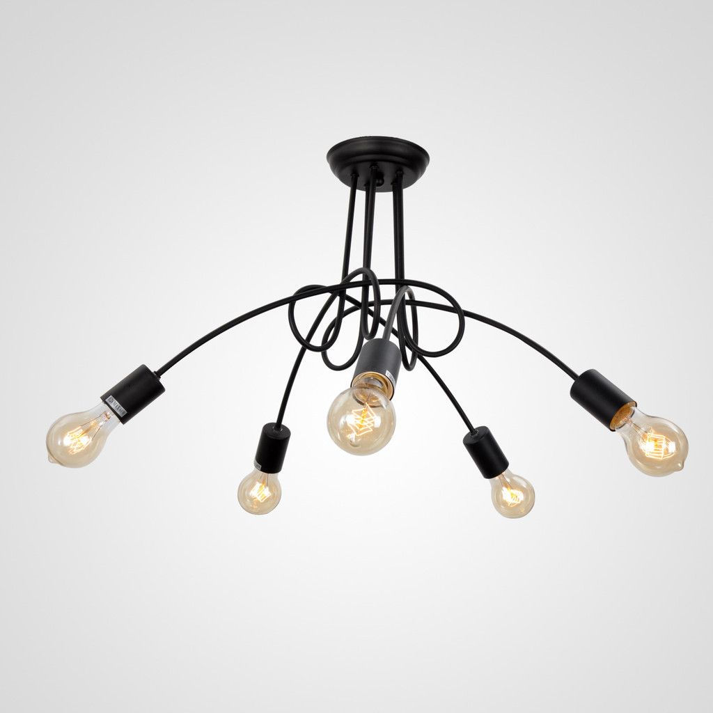UNITARY BRAND Vintage Barn Black Chandelier Max 300W With 5 Lights Pai – unitarylighting